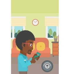 Man controlling vacuum cleaner with smartphone vector