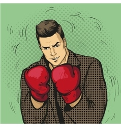 Man in boxing gloves in comic vector image vector image