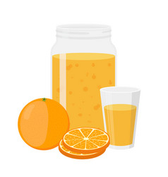 orange juice orange and slice cartoon flat style vector image vector image