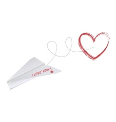 paper plane with heart vector image
