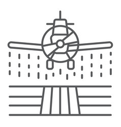 Plane sprays pesticides thin line icon farming vector