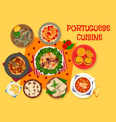 Portuguese cuisine lunch icon for menu design vector