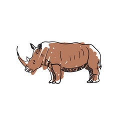 rhinoceros hand drawn isolated icon vector image vector image