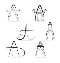 Set of Unique A Letters vector image vector image