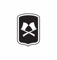 Shield with crossed axes icon simple style vector