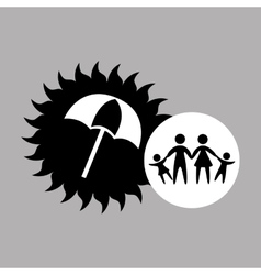 Silhouette family vacation umbrella protection vector