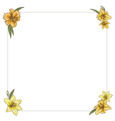 Thin frame with yellow lilies in the corners vector