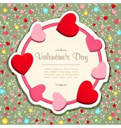 vintage valentines hearts frame vector image vector image