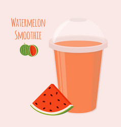 Watermelon detox drink cartoon flat style vector