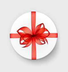 white box with transparent red bow and ribbon vector image