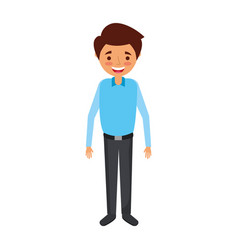 young man happy smiling standing cartoon vector image