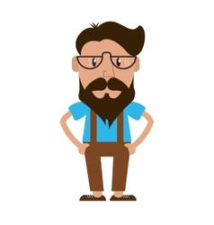 Hipster style man cartoon design vector