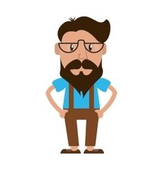 hipster style man cartoon design vector image