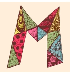 Vintage monogram m doodle colorful alphabet vector