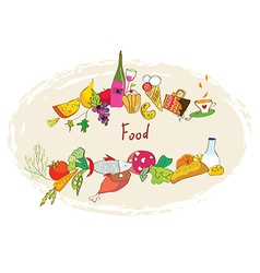 Food banner with meal wine desserts vector