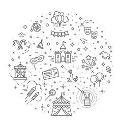 Circus outline icons collection set festival vector