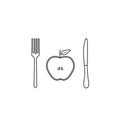 Half apple with fork andknife line icon vector