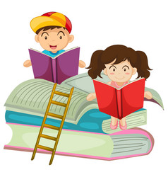 Boy and girl reading book together vector