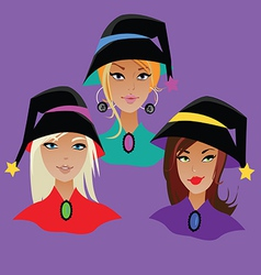 Three young witches vector
