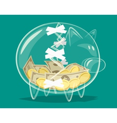 Repaired glass piggy bank vector
