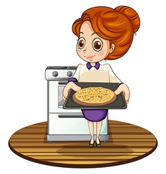 A lady cooking a pizza vector