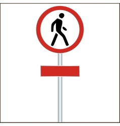 Pedestrian red traffic sign on white - vector
