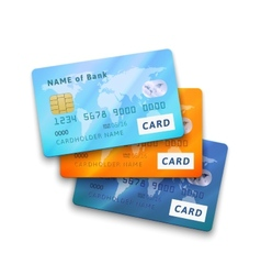 Set of detailed glossy credit cards vector