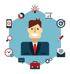 Business management flat vector