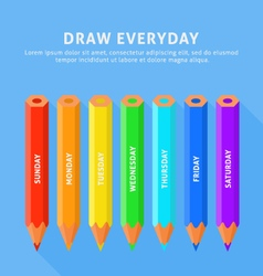 Seven color pencils for everyday vector