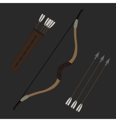 Medieval archer long bow with arrows and quiver vector