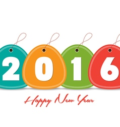 Happy new year 2016 with tag colorful vector