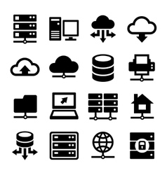 Big data center and server icons set vector
