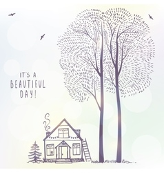 Tree and house doodle vector