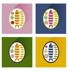 Modern flat icons collection fish on plate vector
