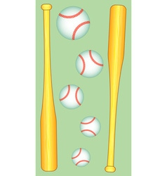 Baseball bat and ball vector