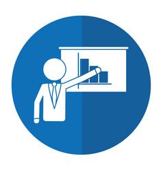 businessman presentation graph statistics shadow vector image