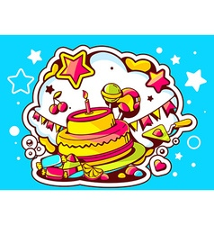 Cake with candle sweets and flags on blu vector