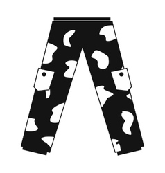 Camouflage trousers simple icon vector