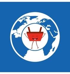 Cartoon basket shopping globe icon vector