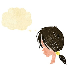 Cartoon girl looking thoughtful with thought vector