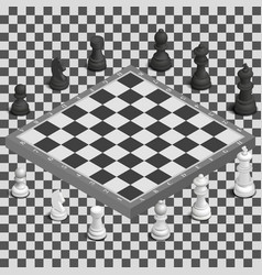 chessboard with photorealistic pieces isometric vector image vector image