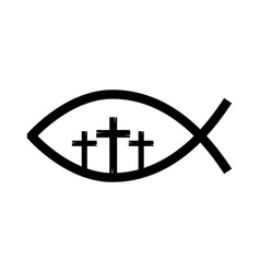 Fish religious symbol with cross vector