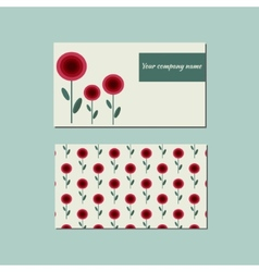 Floral template for business card vector image