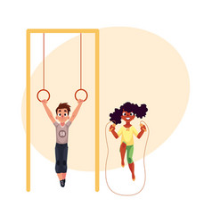 friends playing with gymnastic rings and jumping vector image