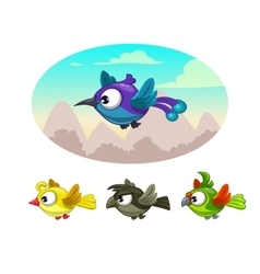 Funny cartoon flying different birds vector image vector image