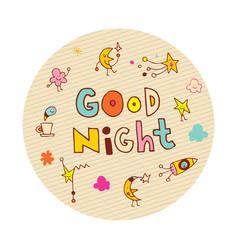 good night circle design vector image