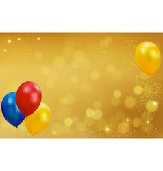 Holiday gold background with balloons vector