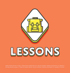 Lessons colour icon with school backpack vector