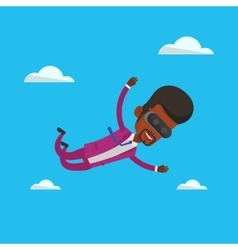 Man in vr headset flying in the sky vector