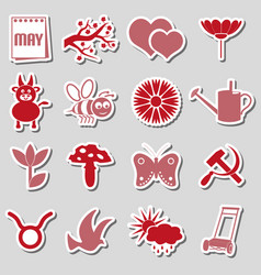 may month theme set of simple red and pink sticker vector image